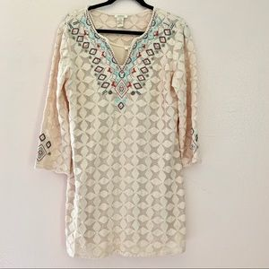 Sundance catalog embroidered mesh lace shift dress